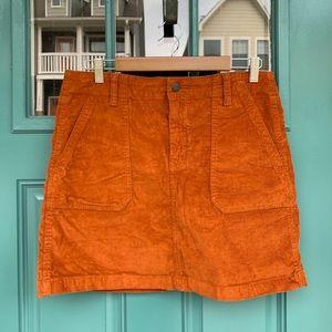 Rust High Waisted Corduroy Mini Skirt